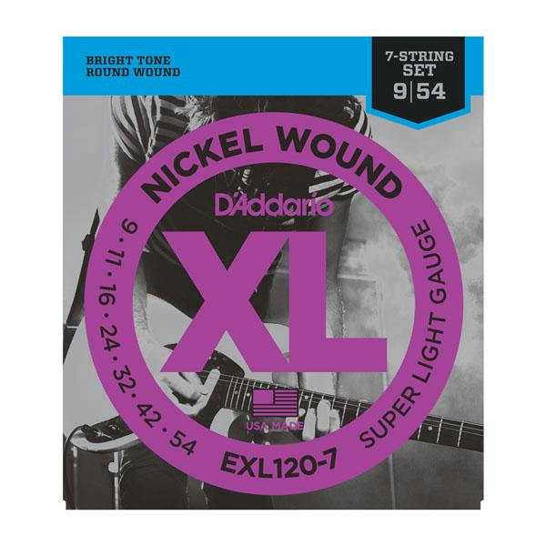 D Addario D Addario Exl120 7 Nickel Wound 7 String Super Light 9 54