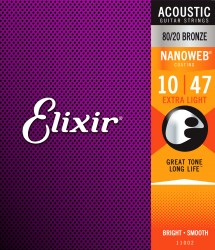 Elixir 11002 Nanoweb 80/20 Bronze Extra Light Acoustic Strings, 10-47
