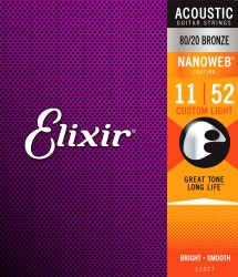 Elixir 11027 Nanoweb 80/20 Bronze Custom Light Acoustic Strings, 11-52