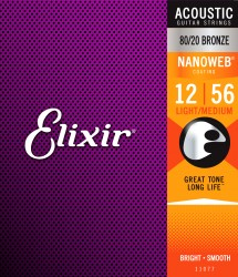 Elixir 11077 Nanoweb 80/20 Bronze Light-Medium Acoustic Strings, 12-56