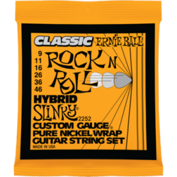 Ernie Ball 2252 Classic Pure Nickel Hybrid Slinky Set, 9-46