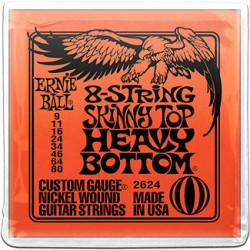 Ernie Ball 2624 8-String Skinny Top Heavy Bottom Nickel Wound, 9-80