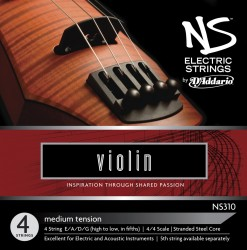 D'Addario NS Electric Violin String Set, 4/4 Scale, Medium Tension