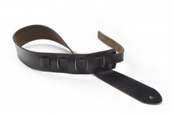 San Leandro Strap LB-111 Leather Guitar Strap, Black