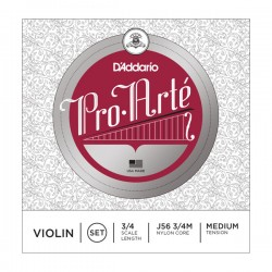 D'Addario J56 3/4M Pro-Arte Violin String Set, 3/4 Scale, Medium