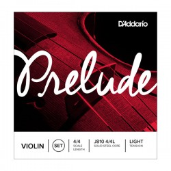 D'Addario J810 4/4L Prelude Violin String Set, 4/4 Scale, Light