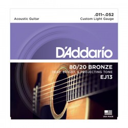 D'Addario EJ13 80/20 Bronze Acoustic Guitar, Custom Light, 11-52