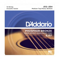 D'Addario EJ37 12-String Phosphor Bronze, Med Top/Heavy Bottom, 12-54