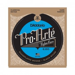 D'Addario EJ50 Pro-Arté Black Nylon, Hard Tension
