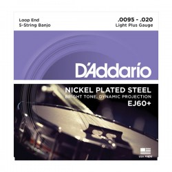 D'Addario EJ60+ 5-String Banjo, Nickel, Light Plus, 9.5-20