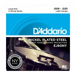 D'Addario EJ60NY 5-String Banjo, Nickel, Light, 9-20