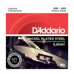D'Addario EJ61NY 5-String Banjo, Nickel, Medium, 10-23