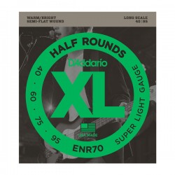 D'Addario ENR70 Half Rounds Bass, Super Light, 40-95, Long Scale