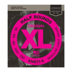 D'Addario Half Rounds 5-String Bass, Regular Light, 45-130, Long Scale