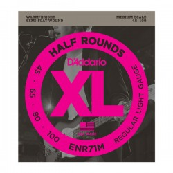 D'Addario ENR71M Half Rounds Bass, Regular Light, 45-100, Medium Scale