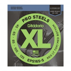 D'Addario Electric Bass EPS165-5 ProSteels Long Scale 5-String 45-135