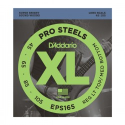 D'Addario EPS165 ProSteels Bass, Custom Light, 45-105, Long Scale