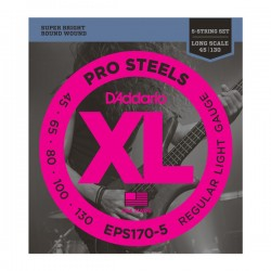 D'Addario EPS170-5 ProSteels 5-String Bass, Light, 45-130, Long Scale