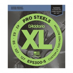 D'Addario ProSteels 5-String, Custom Lt Top / Med Bot, 43-127, Tapered