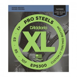 D'Addario EPS300 ProSteels Bass, Custom Light Top/Medium Bottom 43-107