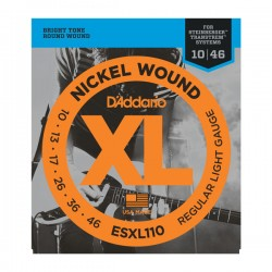 D'Addario ESXL110 Nickel Wound, Regular Light, Double Ball End, 10-46