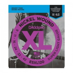 D'Addario ESXL120 Nickel Wound, Super Light, Double Ball End, 9-42