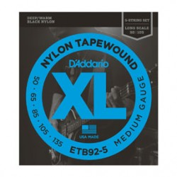 D'Addario ETB92-5 Tapewound 5-String Bass, Medium, 50-135, Long Scale