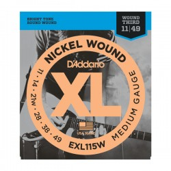 D'Addario EXL115W Nickel Wound, Med/Blues-Jazz Rock, Wound 3rd, 11-49