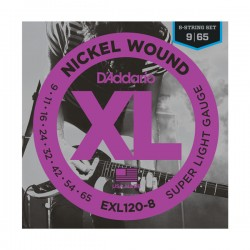 D'Addario EXL120-8 Nickel Wound, 8-String, Super Light, 9-65