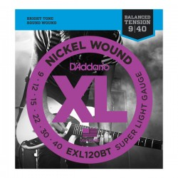 D'Addario EXL120BT Nickel Wound, Balanced Tension Super Light, 9-40