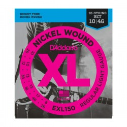 D'Addario EXL150 Nickel Wound Electric 12-String, Regular Light, 10-46