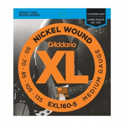D'Addario EXL160-5 Nickel Wound 5-String Bass, Med, 50-135, Long Scale