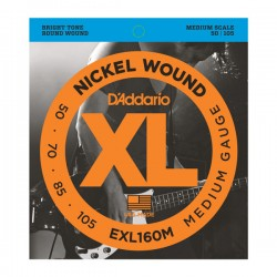 D'Addario EXL160M Nickel Wound Bass, Medium, 50-105, Medium Scale