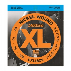 D'Addario EXL160S Nickel Wound Bass, Medium, 50-105, Short Scale