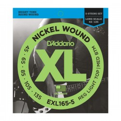 D'Addario EXL165-5 NW 5-String Bass, Custom Light, 45-135, Long Scale