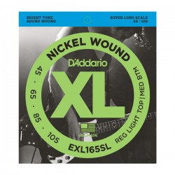 D'Addario EXL165SL NW Bass, Custom Light, 45-105, Super Long Scale