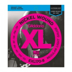 D'Addario EXL170-8 Nickel Wound 8-String Bass, Lt, 32-130, Long Scale