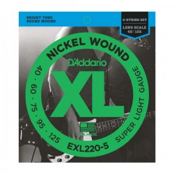 D'Addario EXL220-5 NW 5-String Bass, Super Light, 40-125, Long Scale