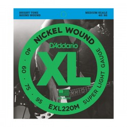 D'Addario EXL220M Nickel Wound Bass, Super Light, 40-95, Medium Scale
