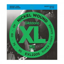D'Addario EXL220S Nickel Wound Bass, Super Light, 40-95, Short Scale