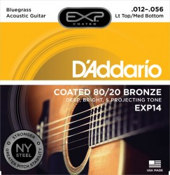 D'Addario EXP14 Coated 80/20 Bronze, Lt Top/Med Bottom/Bluegrass 12-56