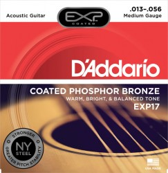 D'Addario EXP17 Coated Phosphor Bronze, Medium, 13-56