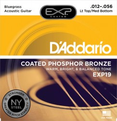 D'Addario EXP19 Coated Phosphor Bronze, Lt Top/Med Bot/Bluegrass 12-56