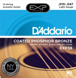 D'Addario EXP38 Coated Phosphor Bronze, 12-String, Light, 10-47