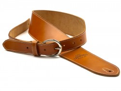 San Leandro Strap LB-124 Deluxe Leather Guitar Strap, Tan