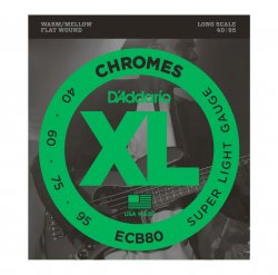D'Addario ECB80 Chromes Bass Guitar Strings, Light, 40-95, Long Scale
