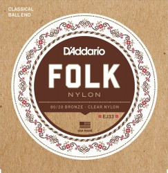D'Addario EJ33 Folk Nylon, Ball End, 80/20 Bronze/Clear Nylon Trebles