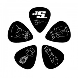 D'Addario 1CBK2-10JS Joe Satriani Guitar Picks, Black, 10 Pack, Light