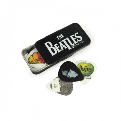 D'Addario Beatles Signature Guitar Pick Tins, Logo, 15 picks, Medium