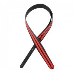"D'Addario 2.5"" Leather Guitar Strap - Black w/ Red Stripes"